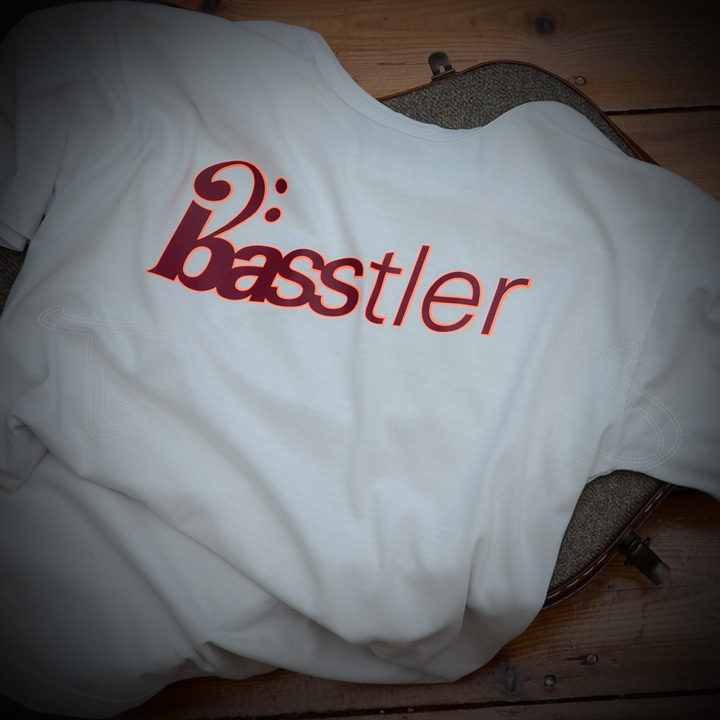 Basstler Shirt Weiß, Druck: Neon-Orange / Bourdeaux